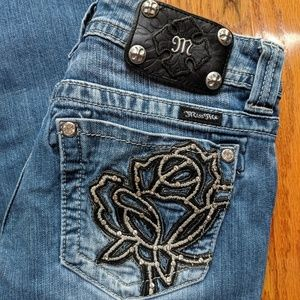 Miss Me Crystal Rose Pocket Boot Cut Jeans